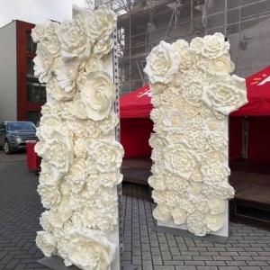Witte bloemenwand 2 panelen