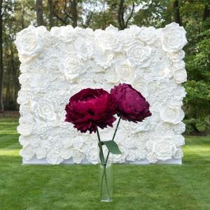 Witte bloemenwand en xl bloemen