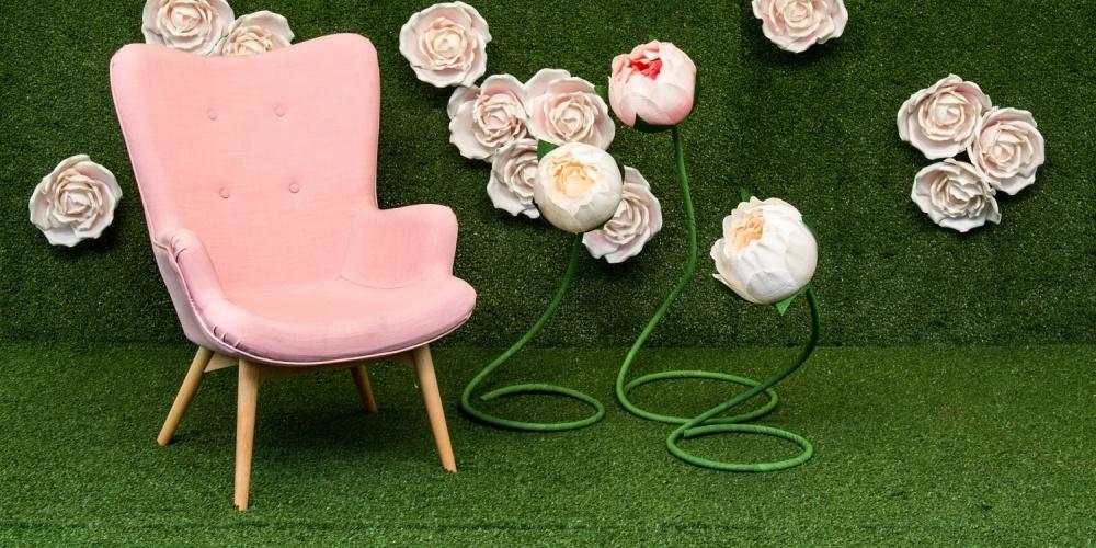 kunstgras bloemenwand Engelse rozen
